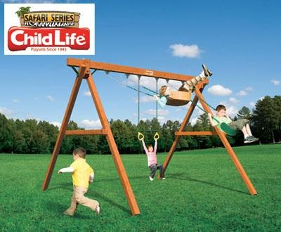 Jungle Swinger - The best part of owning a swing set is being able to swing! Let your safari adventure begin, as your child swings just like Tarzan!Great for Smaller Spaces!