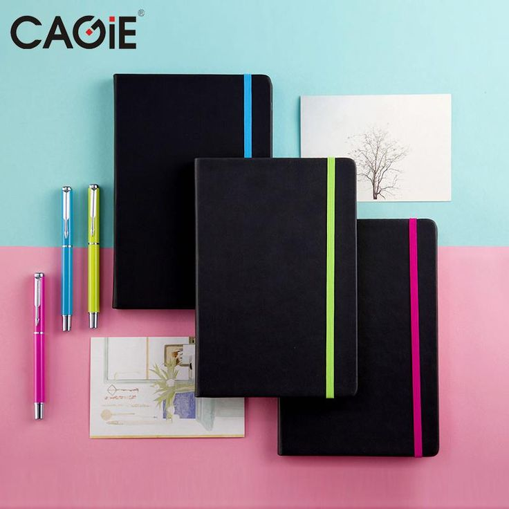 CAGIE Vintage Black Weekly Planner Notebook Colorful Straps Fine Person Agenda Organizer Notebook and Pen Gift Set