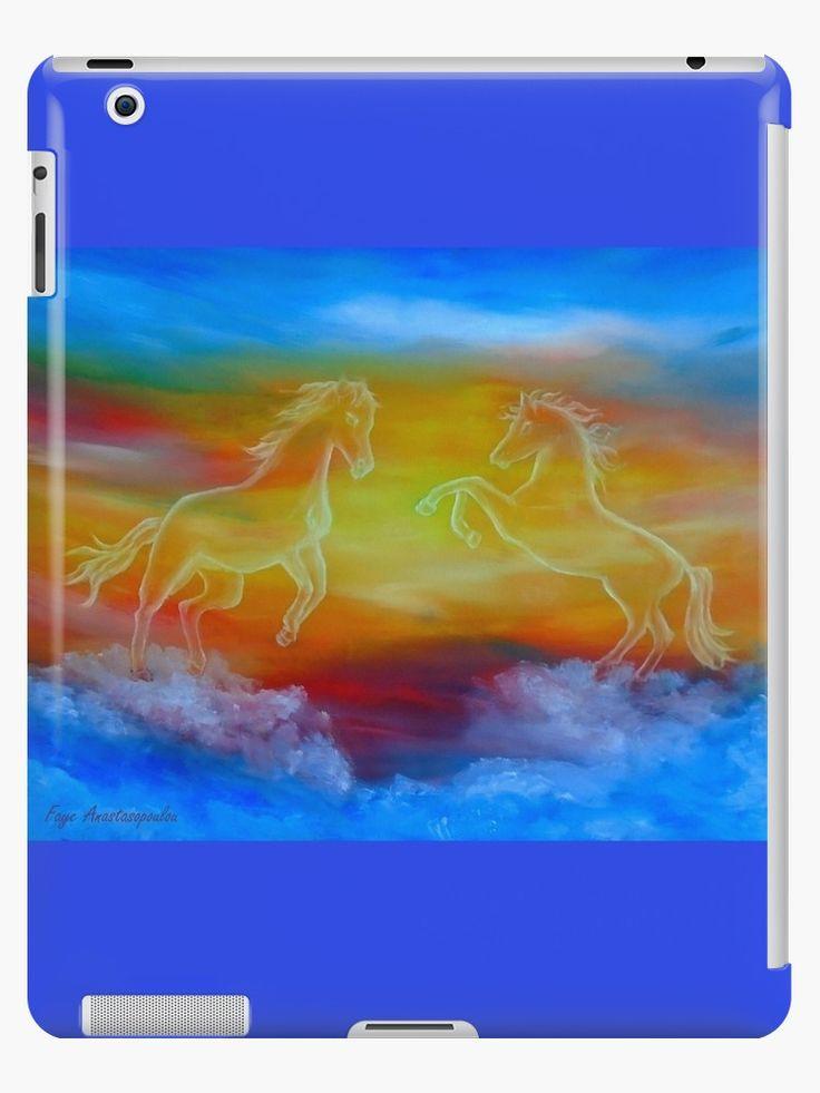 iPad Case/Skin,  horses,sky,blue,colorful,magical,majestic,impressive,fantasy,unique,cool,fancy,beautiful,trendy,artistic,unusual,accessories,ideas,design,items,products,for sale,redbubble