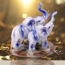 2016 New Design Animal Figurine Statue Elephants Mum and Child Ceramic Elephant Handicraft Full of Love Kawaii Home Decoration