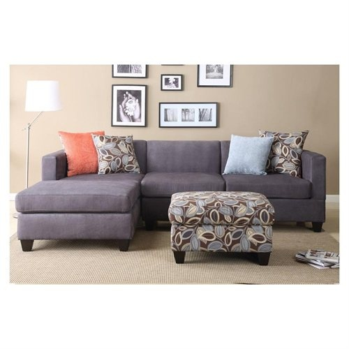 Family Room Sofa 2 Pc Charcoal Gray Microfiber Sectional Sofa Set With Ottoman Id 2 Project