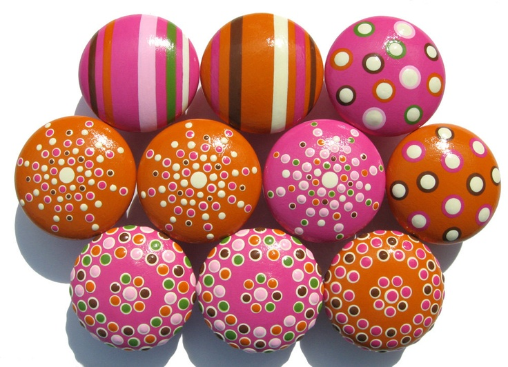 Striped, Spotted and Dotted Hand Painted Drawer Knobs - Orange, Hot Pink, Light Pink, Brown, Green and Vanilla, Set of 10. $73.50, via Etsy.