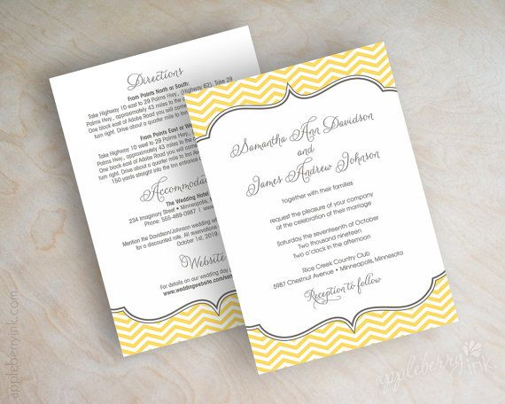 Chevron wedding invitations, chevron invites, vintage wedding invitation, chevron wedding stationery, charcoal gray, gold, yellow, Cecilia on Etsy, $1.00