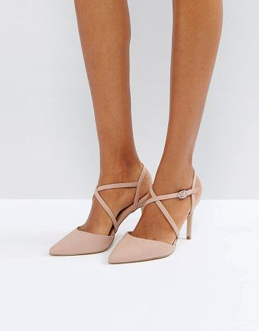 """Cross Strap Heeled Court Shoe by New Look. """"""""Shoes by New Look, Faux leather upper, Ankle-strap fastening, Cross-over design, Pointed toe, Pointed high heel, Te..."""