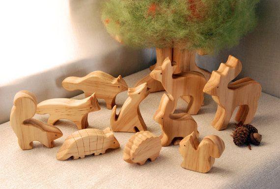 Carved Wooden Animals Set of 10 Waldorf Inspired by jupiterschild, $60.00