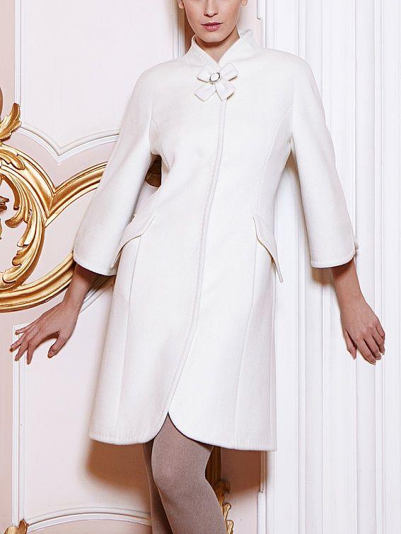 Пальто женское цвет молочный, ангора велюр, артикул 301303vlr03