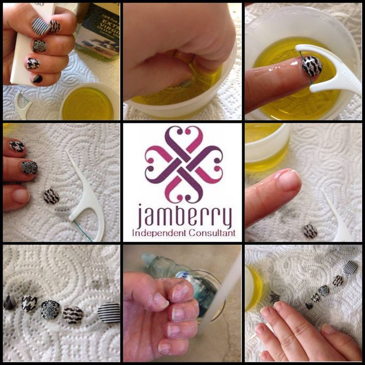 How do you remove Jamberry nails?  It's so easy!  Soak in olive oil...or any oil, and use a disposable flosser!  Easy Peasy, and no damage to your nails!