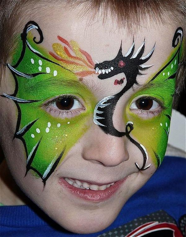 Dragon Face Painting. Cool Face Painting Ideas For Kids, which transform the faces of little ones without requiring professional quality painting skills. http://hative.com/cool-face-painting-ideas-for-kids/