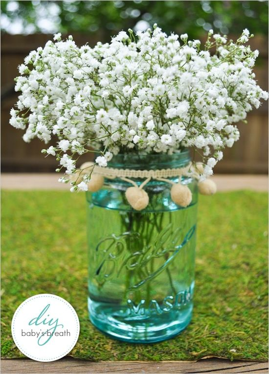 outdoor wedding decorations mason jars  | Mason Jars as Wedding Decor / Baby's breath in a #mason #jar