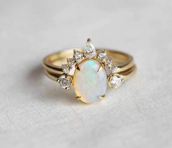 Opal Ring Opal Engagement Ring Opal Diamond Ring by capucinne