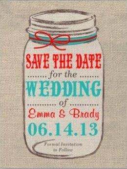 My Aqua & Red with Burlap & Mason jar! Rustic Weddings - 101 Great Ideas