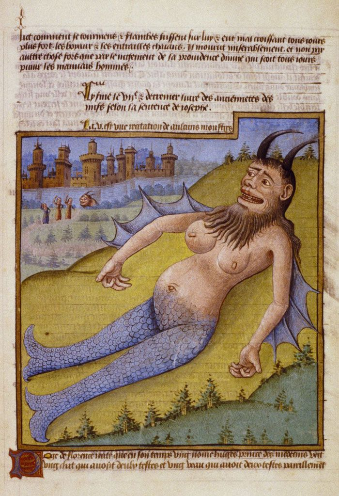 Merman, mid-15th century: This monstrous merman is one of the fabulous creatures described in the Mirroir du Monde, a chronicle of world history from the Creation to the birth of Christ. MS. Douce 337