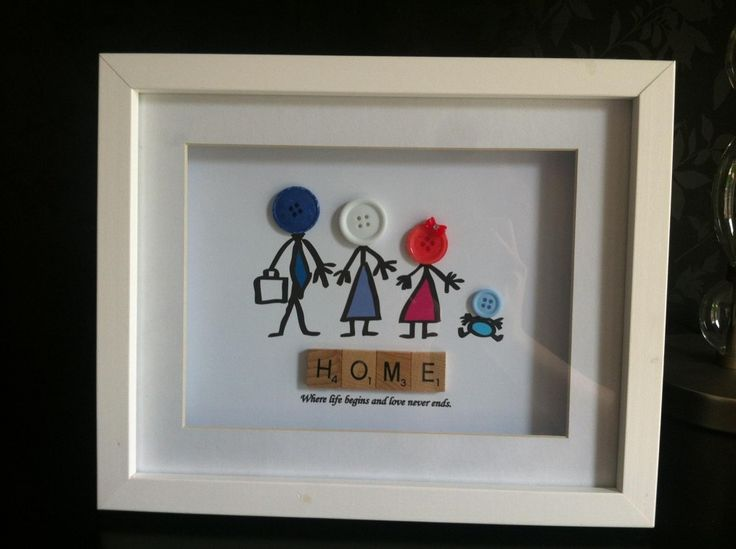 Button head family scrabble frame - The Supermums Craft Fair