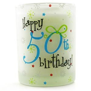 Happy 50th Birthday Vanilla Candle Votive This gorgeously scented Happy 50th Birthday Vanilla Candle Votive is a wonderful gift for a special someone celebrating their 50th Birthday and for her to sit back light and enjoy the wonderful vanill http://www.comparestoreprices.co.uk/birthday-gifts/happy-50th-birthday-vanilla-candle-votive.asp