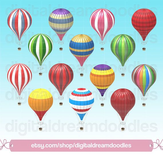 Hot Air Balloon Clipart, Vintage Hot Air Balloon Clip Art, Colorful Gas Balloon Image, Retro Air Balloons PNG Scrapbook, Digital Download