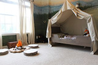 Camping room, tent, campfire, woodland, mountain, mural, out doors, tent bed, camp out The Ragged Wren