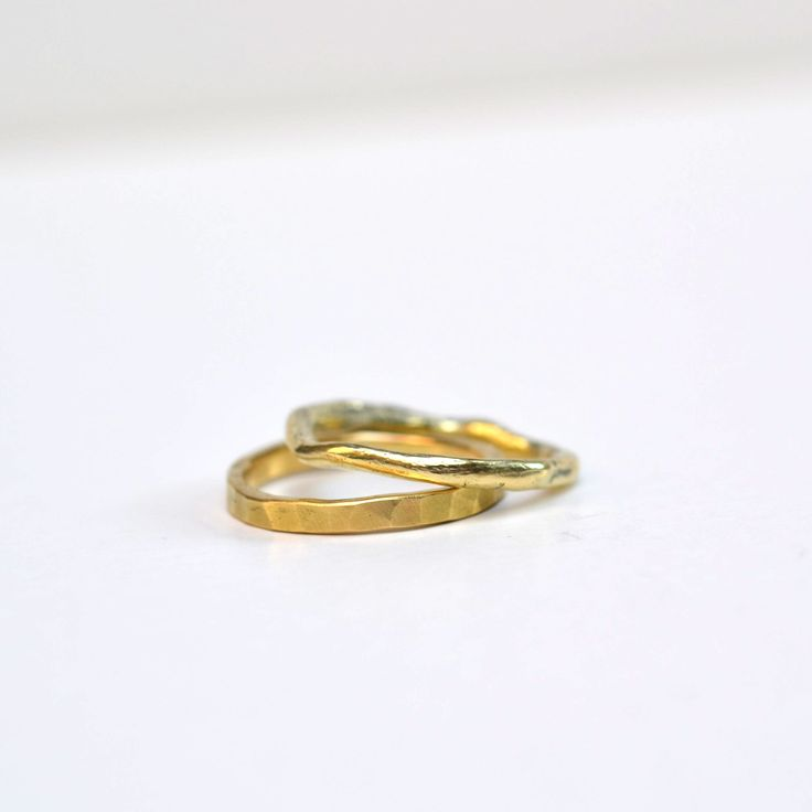 Wedding Ring set 1 hammered golden ring 1 casted golden ring Both handmade with love by kornelia www.kornelia.be