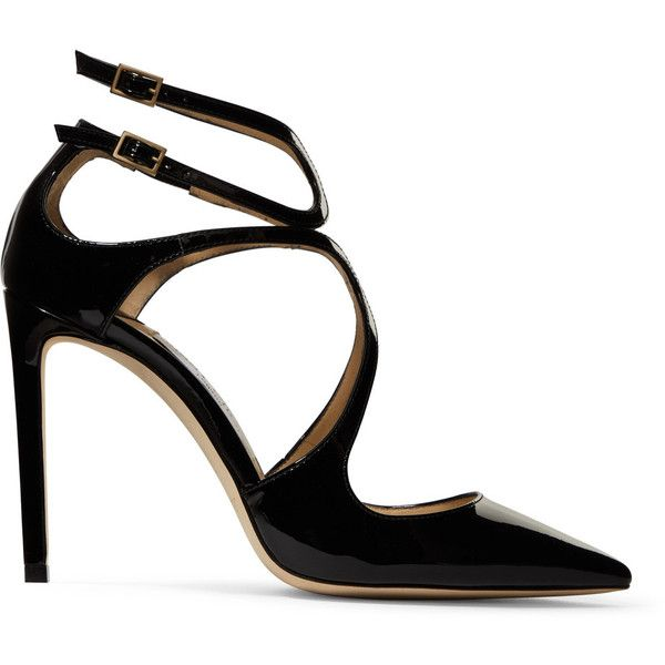 Jimmy Choo Lancer 100 cutout patent-leather pumps (2.570 RON) ❤ liked on Polyvore featuring shoes, pumps, heels, jimmy choo shoes, black strappy shoes, black shiny pumps, black patent shoes and black high heel pumps