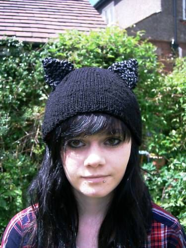 Black kitty cat hat with ears Hand Knitted by thekittensmittensuk, $22.00