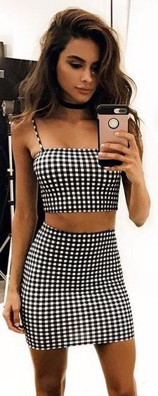#summer #outfits / Pin Check Two Piece Playsuit