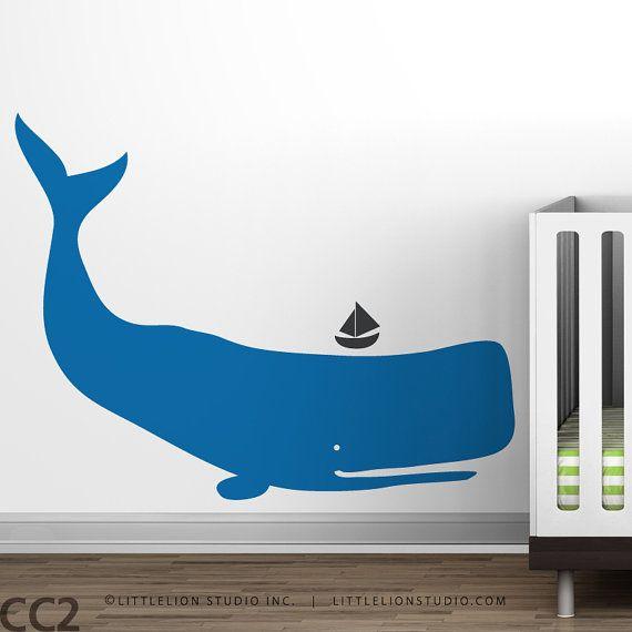 Baby Zoo Whale  Blue boys room  Ocean Kids Decor by LeoLittleLion, $44.00
