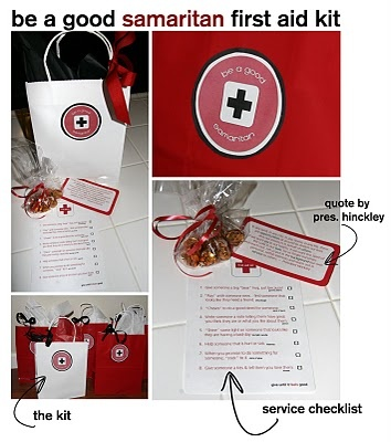 """""""Good Samaritan"""" first aid kit.... what if we """"made"""" a helping hands first aide kit as a craft for our kids to take home?"""