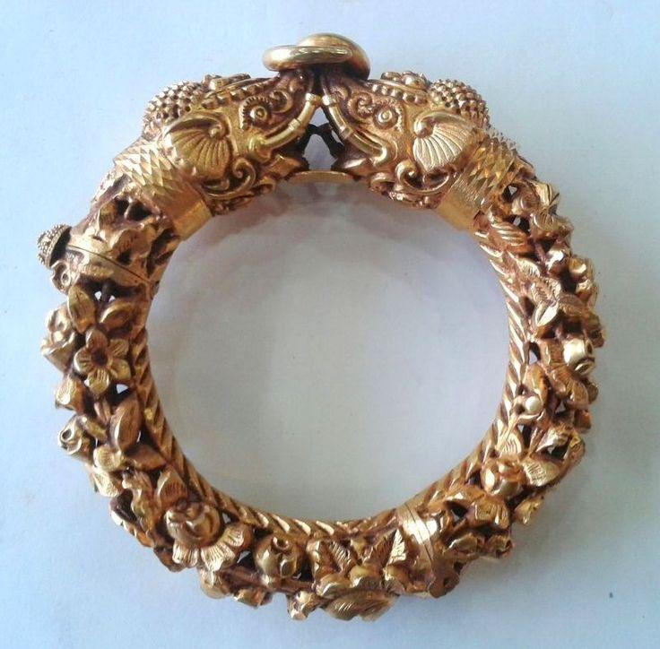 Vintage antique solid 20K Gold elephant hinge Bracelet Bangle Orissa India #Bangle US $6,950.00 Buy It Now