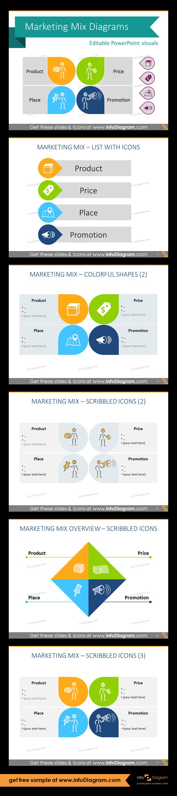 Collection of Marketing Mix framework template and icons as pre-designed PowerPoint slides. 4P of marketing overview variations: colorful shapes, scribble icons. Fully editable style. Size and colors easy to adjust using PowerPoint editor. Presentation template suitable for marketing and strategy planning presentations.