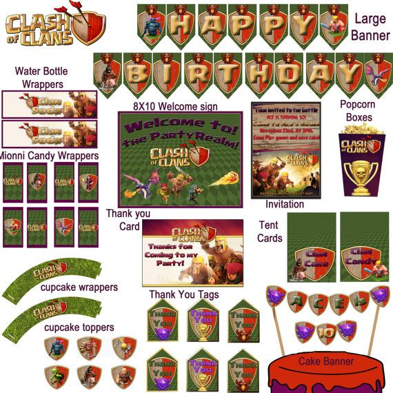 Hey, I found this really awesome Etsy listing at https://www.etsy.com/ca/listing/207887526/clash-of-clans-birthday-premium-pack
