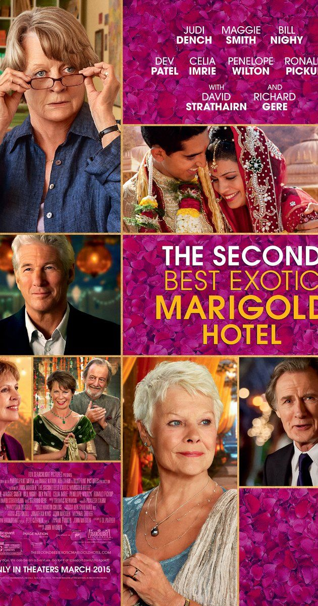Directed by John Madden.  With Maggie Smith, Richard Gere, Bill Nighy, Judi Dench. As the Best Exotic Marigold Hotel has only a single remaining vacancy - posing a rooming predicament for two fresh arrivals - Sonny pursues his expansionist dream of opening a second hotel.
