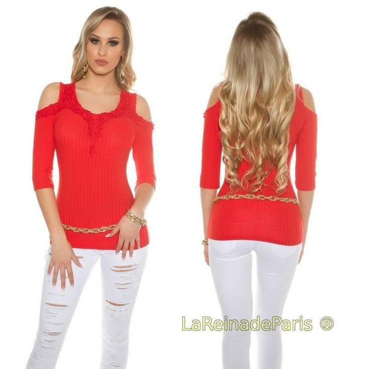 Blusa con bordado rojo