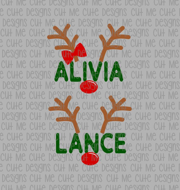 SVG DXF PNG cut file cricut silhouette cameo scrap booking Christmas Boy and Girl Reindeer (Name/Font Not Included) by CutMeCuteDesigns on Etsy