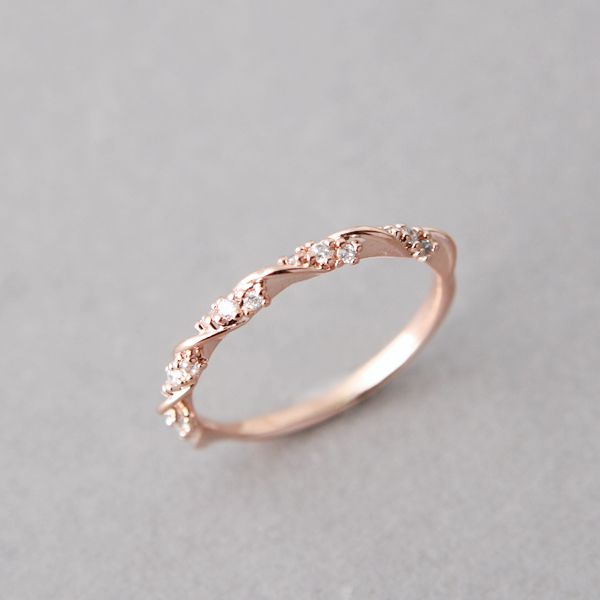 Cz Elegant Single Ribbon Ring Rose Gold Stacking Engagement Wedding Rings
