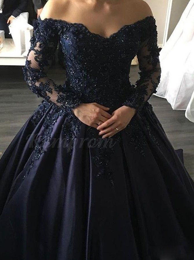 bde7ceb1d7a Ball Gown Off-the-Shoulder Long Sleeves Navy Blue Gorgeous Prom ...