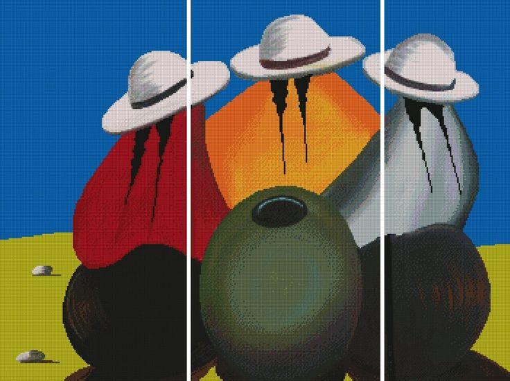 """PATRON PUNTO CRUZ  """"Triptico Tres Cholitas """"  Para bordar con Hilos DMC  350 Puntos de Ancho  262 Puntos de Alto  - Medida aprox, del bordado, si es en tela Aida de 14: 63,5 cm ancho x 47,5 cm de alto http://puntocruzandino.weebly.com/"""