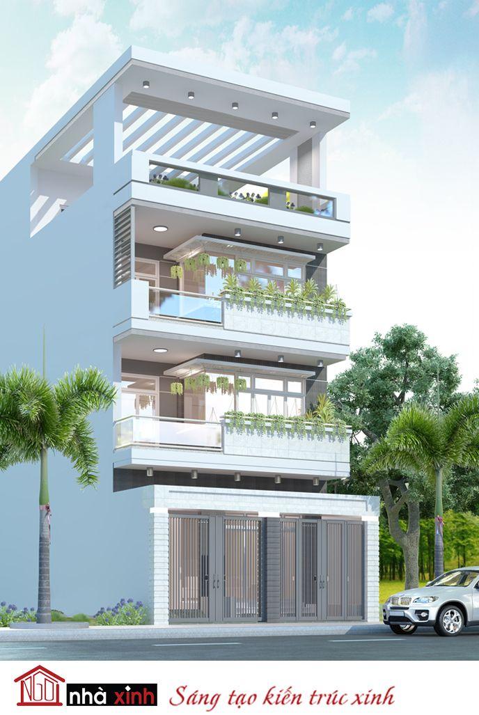 Mẫu nhà phố đẹp của gia đình anh Thi được thiết kế theo phong cách kiến trúc hiện đại, trẻ trung và cá tính. Kiến trúc sư đã khéo léo tạo chiều sâu cho ngôi nhà bằng cách phân tầng lùi sâu theo kiểu bậc thang.