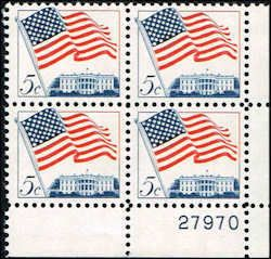 US #1208 Stamps for sale  5 cents Flag over White House Stamps  Plate Block of 4 Stamps  LR 27970  Us 1208-17