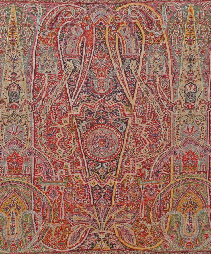 Kashmir, Sikh Period, Kani Paisley Shawl. Handwoven Wool. Palla Detail. India. Circa 1840.
