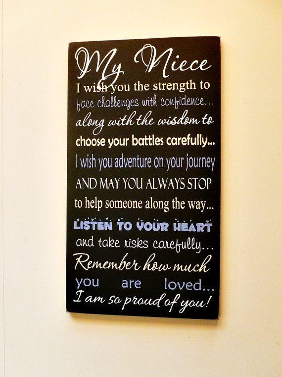 My Niece Wood Sign, Great Graduation or Birthday Gift ...