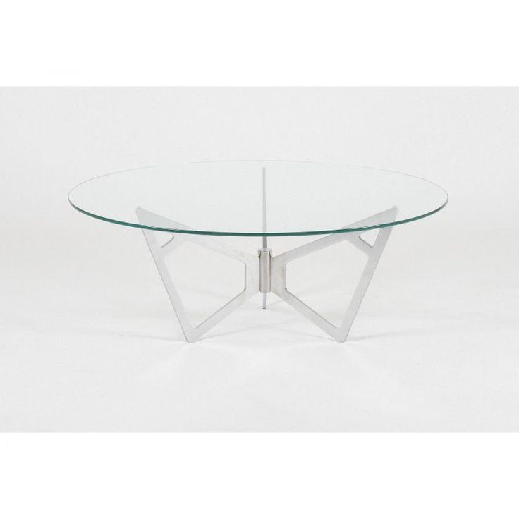 glazentafel.com | Hardglazen ronde salontafel Piacenza is gemaakt van helder glas met een sierlijke frame in geborsteld roestvrij staal (RVS). Deze salontafel is ook verkrijgbaar in ovaal of rechthoek vorm.