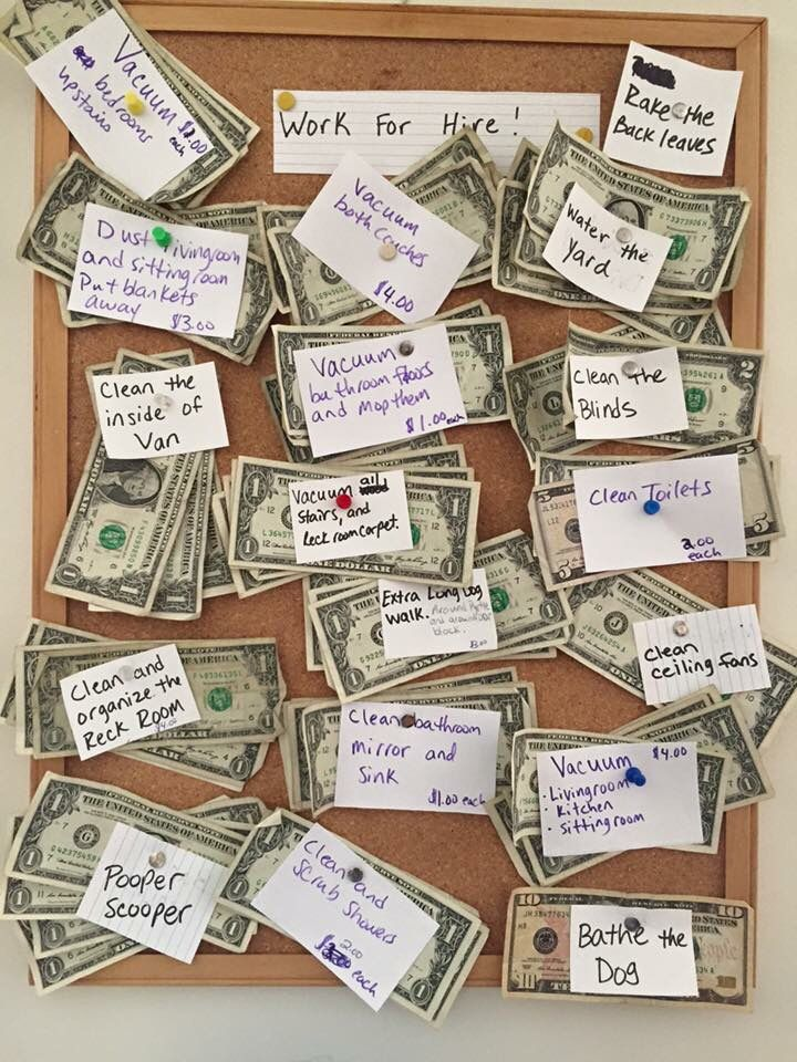 Aside from my kiddos regular (not paid) chores, this is how they earn extra spending money. Learn the value of money.