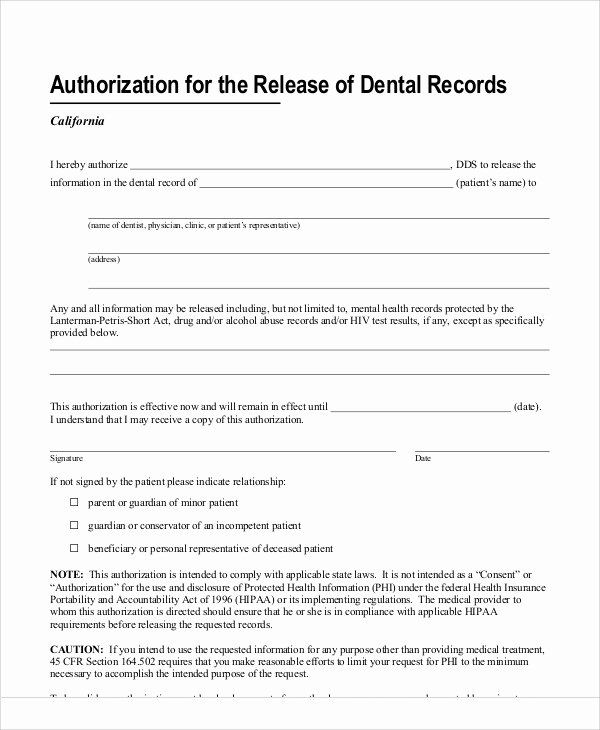 Dental Patient Forms Template Fresh 11 Sample Dental Release Forms Dental Treatment Dental Consent Forms