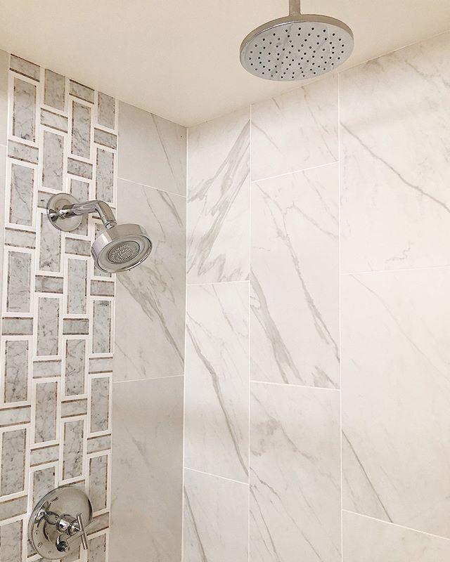 L S I N T E R I O R S Lindsaysaccullointeriors Neutral Marble Master Bath Shower Vertical Sho Marble Shower Walls Vertical Shower Tile Shower Wall Tile