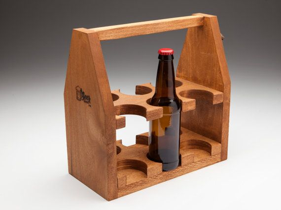 The Six Shooter Poplar Wooden 12oz Beer Tote/Carrier by BEERloved