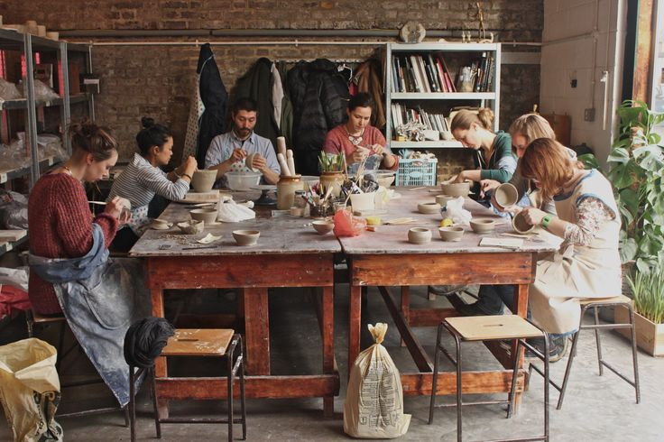 Members busy creating at the studio in Hackney, East London.