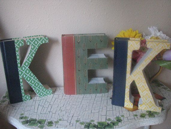 Monogram Letters cut from Readers Digest Books by LovinTheWhimsy, $20.00