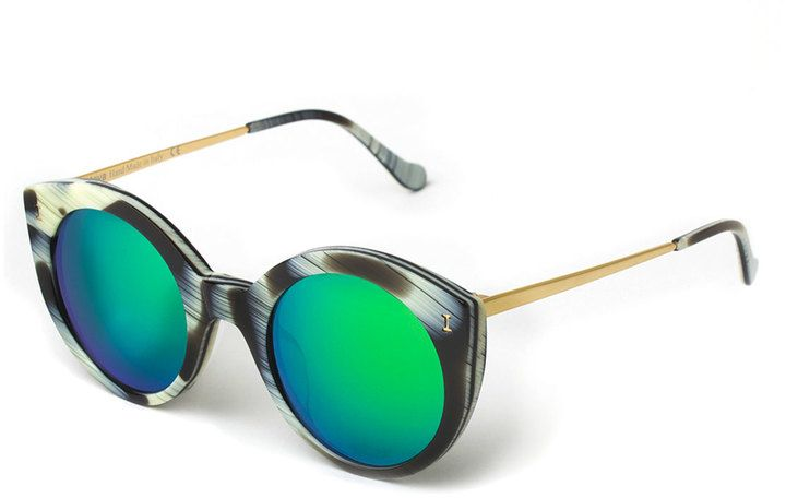 $240, Illesteva Palm Beach Mirrored Sunglasses Horn. Sold by Neiman Marcus. Click for more info: https://lookastic.com/women/shop_items/166506/redirect