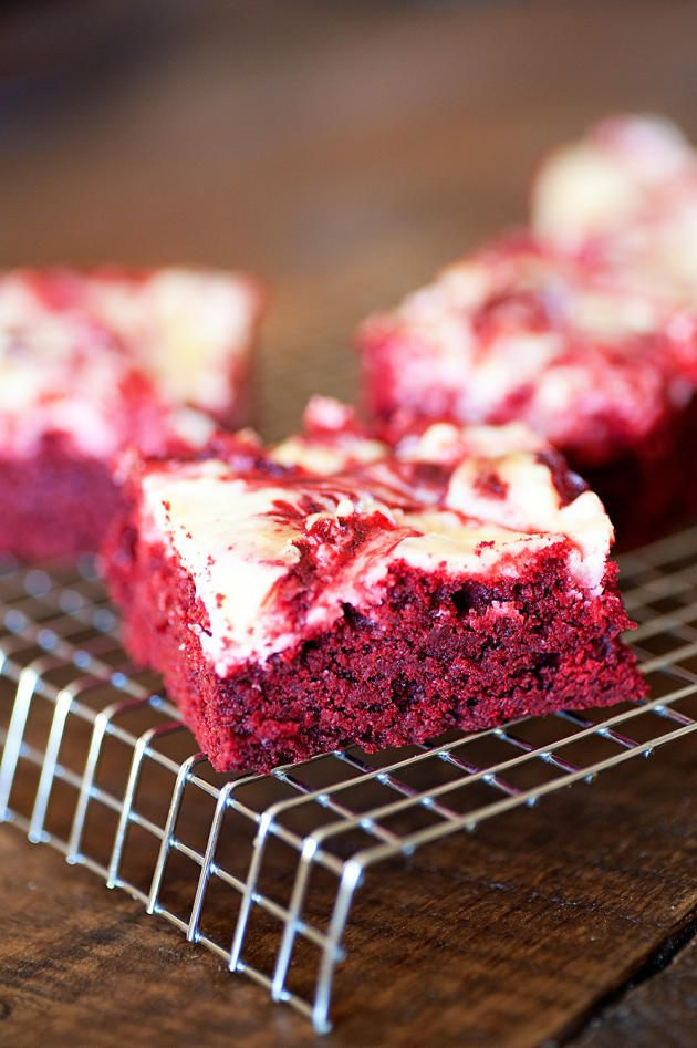 This is a close-up of our red velvet cheesecake brownies. We'll wait for your mouth to stop watering...
