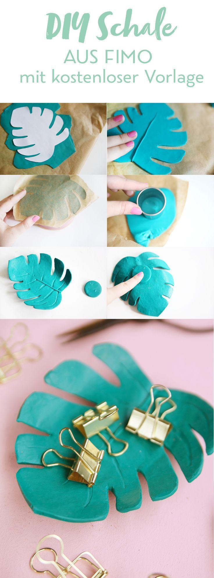 DIY: Monstera-Schale aus Fimo selbermachen