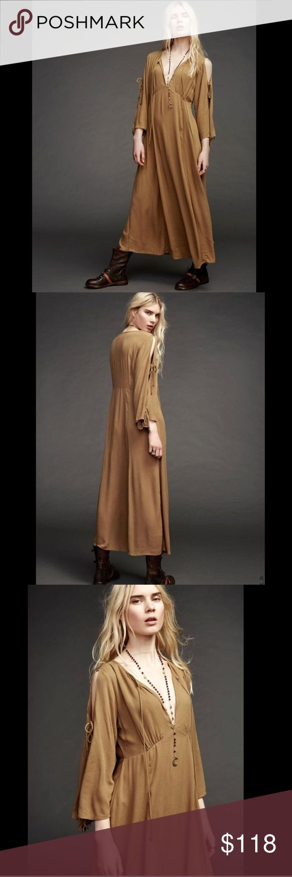 """Free People Endless Summer gold brown Maxi Dress S Free People Endless Summer gold brown Babydoll Cold Shoulder Maxi Dress deep V with tie, wide 3/4 bell sleeves with cold shoulder   swingy skirt, unlined, with bell tassel ends New Without Tags  *  Size:  Small  *there is a line through the tag to prevent store return * depending on your height it will be a Midi or Maxi  100% gauzy rayon  37"""" around bust 32"""" around waist 52"""" long Free People Dresses Maxi"""